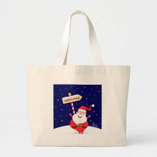 Santa cute red on white large tote bag