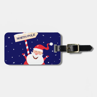 Santa cute red on white luggage tag