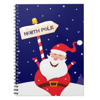 Santa cute red on white spiral notebook