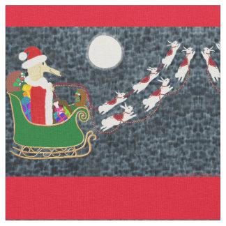 Santa Dachshund Fabric