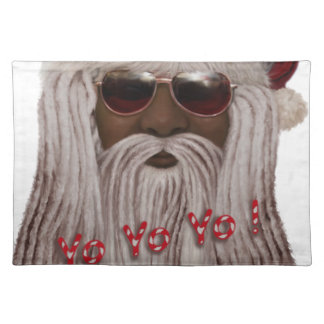 Santa ( dark ) in Dreads -Yo Yo Yo! Placemat