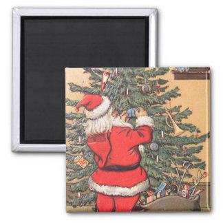 Santa Decorating Christmas Tree Magnet