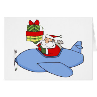 Santa Delivers Presents in Airplane Card