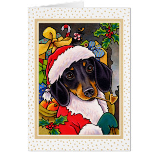 Santa Dog Dachshund Christmas Card