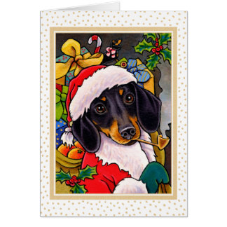 Santa Dog Dachshund Christmas Notecard
