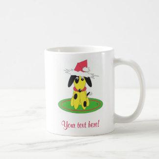 santa doggy - personalised basic white mug
