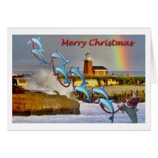 Santa & Dolphins Santa Cruz Christmas Card