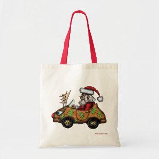 Santa driver on Rudolph car cute christmas bag