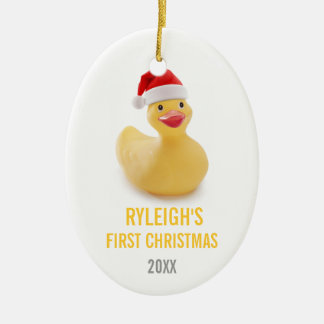 Santa Ducky Babys First Christmas Ornament