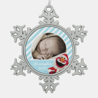 Santa Elmo | Add Your Name Snowflake Pewter Christmas Ornament