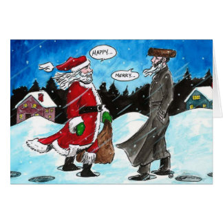 Santa encounters Hasidic Jew Card