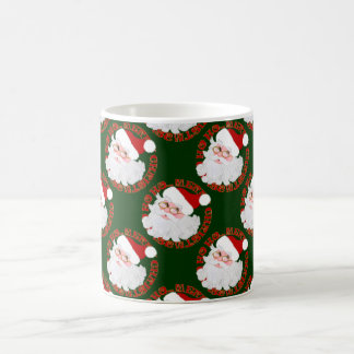 Santa Face Circles,Green-11oz Coffee Mug
