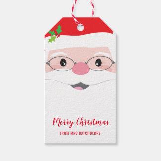 SANTA FACE hipster festive christmas modern gift Gift Tags