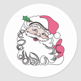 Santa Face Round Sticker