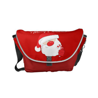 Santa Face - white text. Messenger Bags
