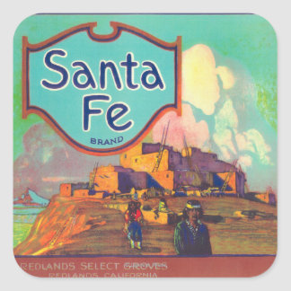 Santa Fe Orange LabelRedlands, CA Square Sticker