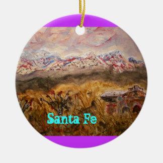 santa fe snow ceramic ornament