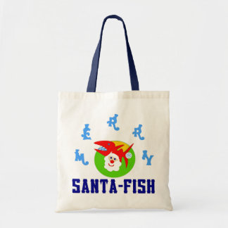 ♫♥Santa-Fish Hilarious Budget Tote Bag♥♪
