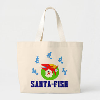♫♥Santa-Fish Hilarious Jumbo Tote Bag♥♪