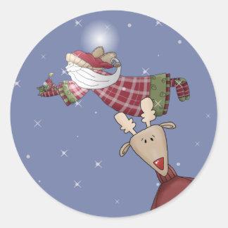 Santa Flies Round Sticker