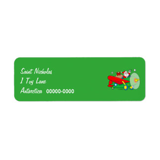 Santa Flying Airplane with Gifts Return Address Label