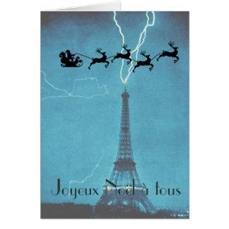 Santa Flying Past the Eiffel Tower Card