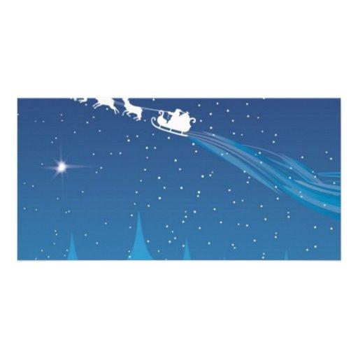 santa flying photo greeting card