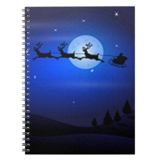 Santa Flys At Night Notebook