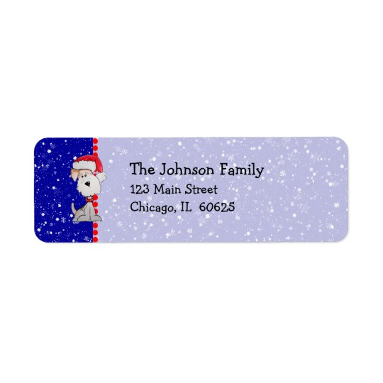 Santa Fox Terrier (Customisable) Return Address Label