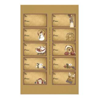 Santa & Friends Gift Tags on a Sheet - 10 Designs