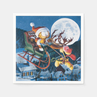 Santa Garfield and Rudolph Odie Disposable Napkin