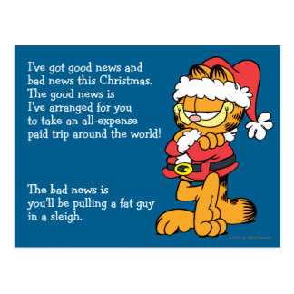 Santa Garfield Postcard