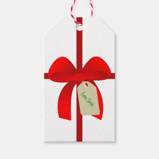 Santa Gift Wrap Bow Personalised Gift Tags