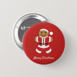 Santa Gingerbread Man   Button