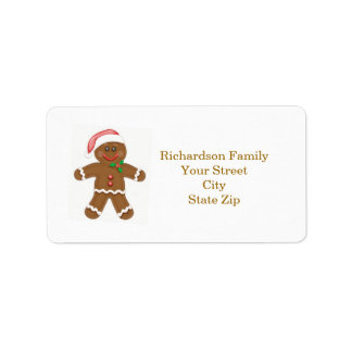 Santa gingerbread man Christmas address label