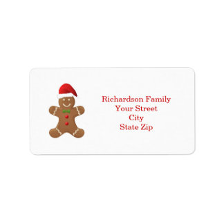 Santa Gingerbread man Christmas label