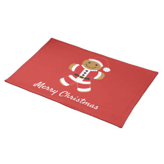 Santa Gingerbread Man | Cloth Placemat