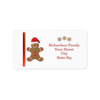 Santa Gingerbread man, snowflakes  Christmas label