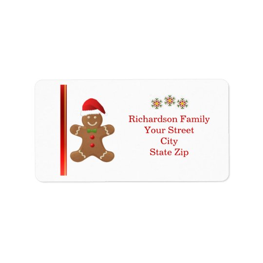 Santa Gingerbread man, snowflakes  Christmas label Address Label