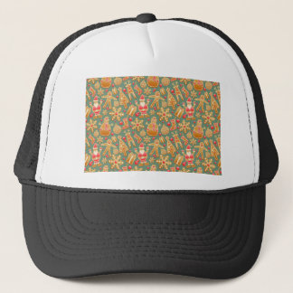 Santa Gingerbread Pattern Trucker Hat