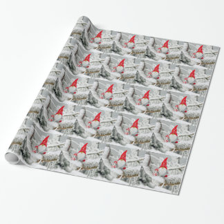 Santa Gnome Wrapping Paper