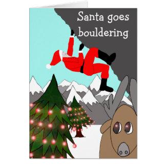 Santa goes bouldering Christmas card