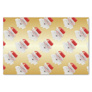 Santa Gold Coloured Christmas Tissue Paper