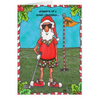 Santa Golfing Greeting Card
