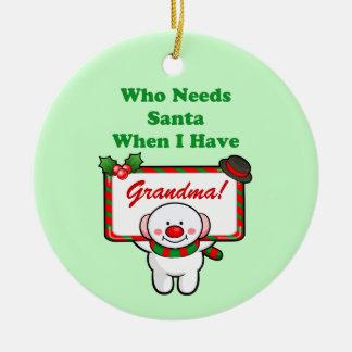 Santa Grandma (customizable) Ceramic Ornament
