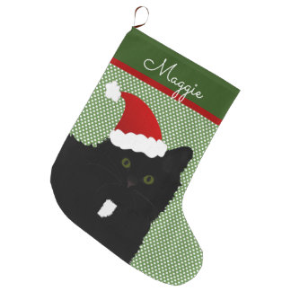 Santa Green Eyes Long Hair Black Cat Large Christmas Stocking