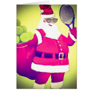 Santa handles Tennis racket Card