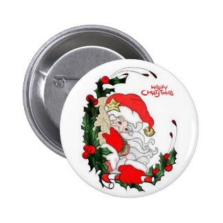 Santa Happy Christmas Button