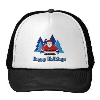 Santa Happy Holidays Trees 3D Design Cap