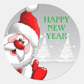 Santa HAPPY NEW YEAR Round Sticker